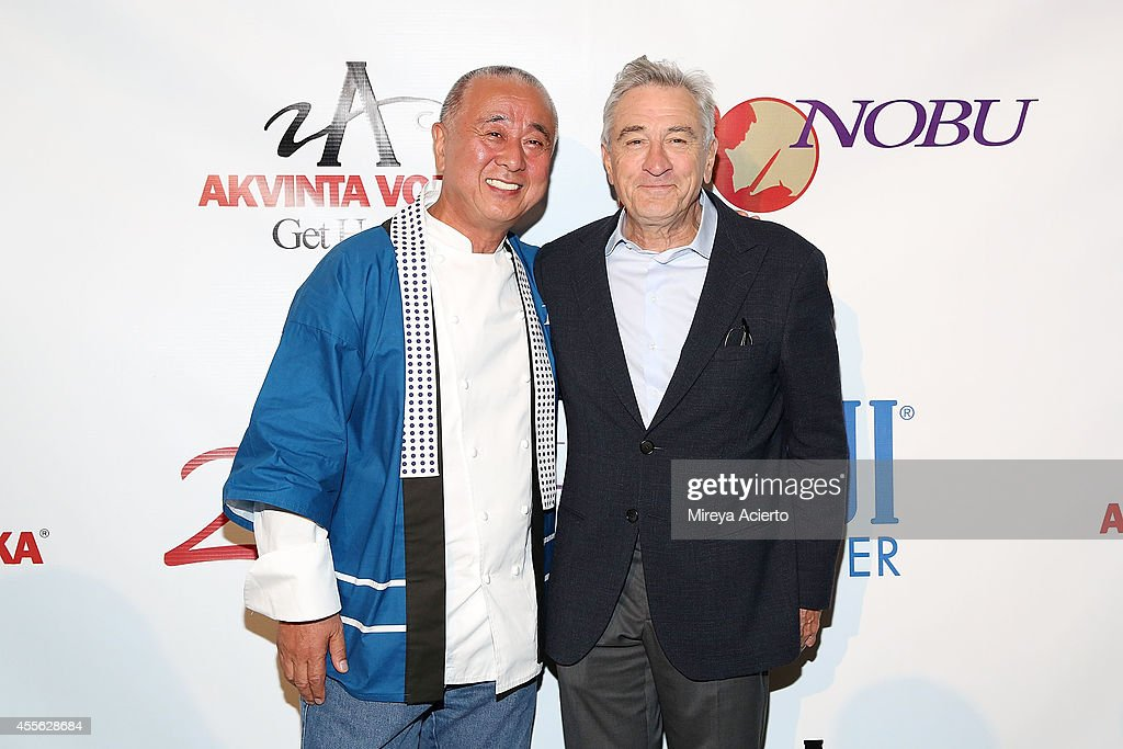 Chef <a gi-track='captionPersonalityLinkClicked' href=/galleries/search?phrase=Nobu+Matsuhisa&family=editorial&specificpeople=4292658 ng-click='$event.stopPropagation()'>Nobu Matsuhisa</a> and actor <a gi-track='captionPersonalityLinkClicked' href=/galleries/search?phrase=Robert+De+Niro&family=editorial&specificpeople=201673 ng-click='$event.stopPropagation()'>Robert De Niro</a> attend Nobu Celebrates 20 Years at Tribeca Rooftop on September 17, 2014 in New York City.