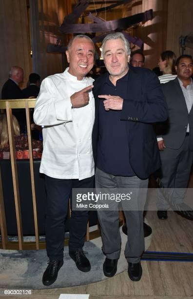 Chef Nobu Matsuhisa and actor Robert De Niro attend the Nobu Downtown Sake Ceremony at Nobu Downtown on May 30 2017 in New York City