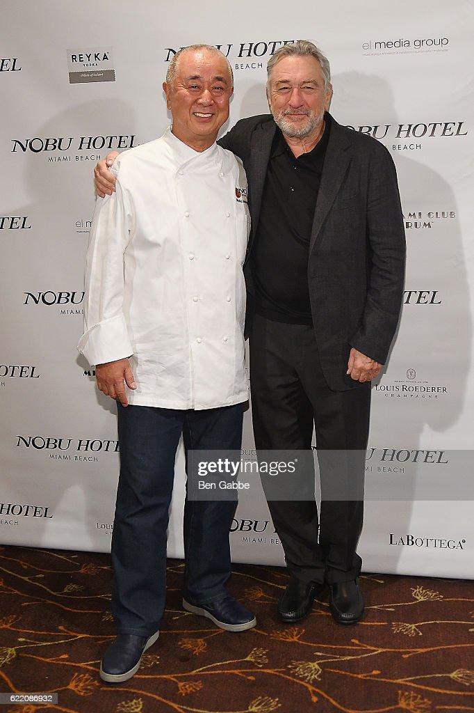 Chef Nobu Matsuhisa and actor Robert DeNiro attend Nobu Hotel Miami Beach launch VIP cocktail at Nobu Next Door on November 7, 2016 in New York City.