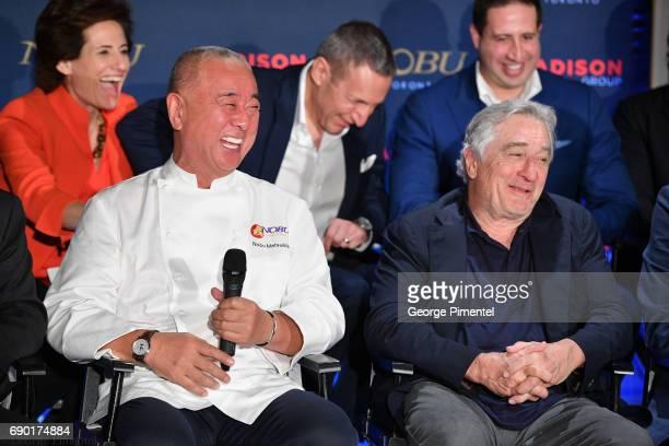 Chef Nobu Matsuhisa and Robert De Niro attend the Nobu Residences Toronto unveiling plans with Nobu hospitality press conference at Nobu Sales Centre...