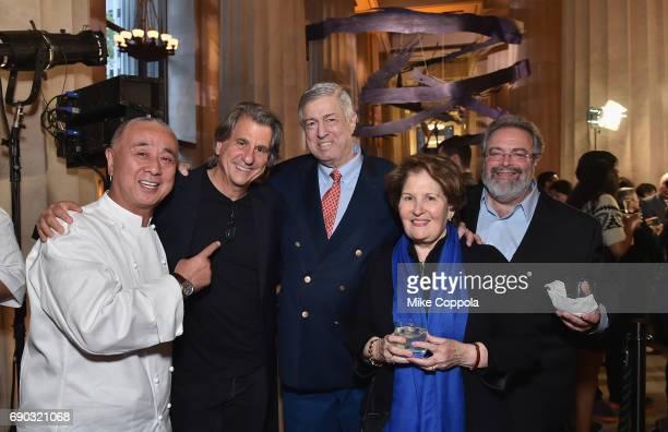Chef Nobu Matsuhisa David Rockwell Tim Zagat Nina Zagat and Drew Nieporent attend the Nobu Downtown Sake Ceremony at Nobu Downtown on May 30 2017 in...