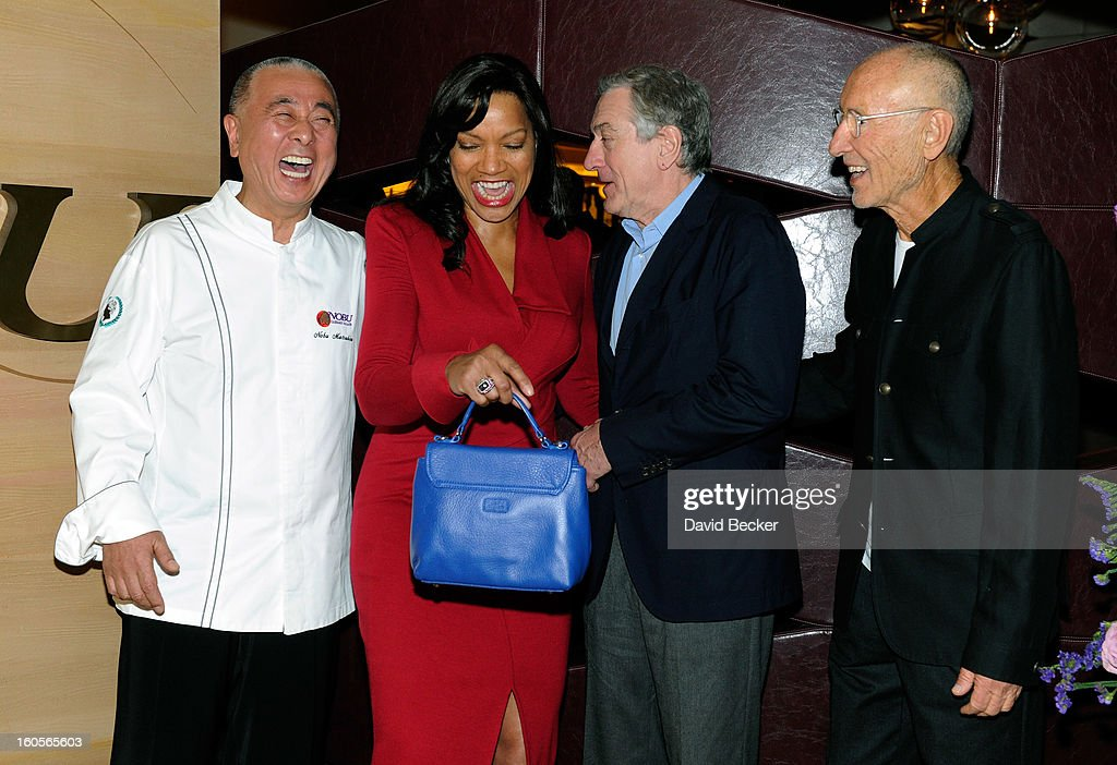 Chef Nobu Matsuhisa, Grace Hightower De Niro, actor Robert De Niro and Meir Teper appear during a preview for the Nobu Restaurant and Lounge Caesars Palace on February 2, 2013 in Las Vegas, Nevada. The Nobu Hotel Restaurant and Lounge Casears Palace is scheduled to open on February 4.