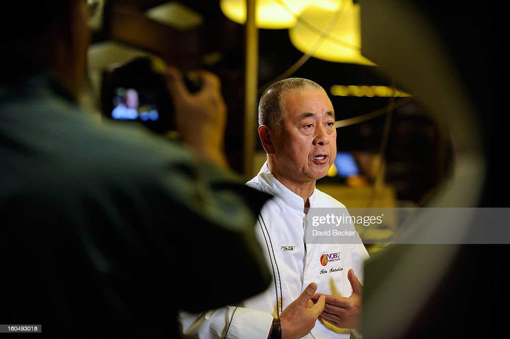 Chef Nobu Matsuhisa is interviewed during a preview for the Nobu Restaurant and Lounge Caesars Palace on February 1, 2013 in Las Vegas, Nevada. The Nobu Hotel Restaurant and Lounge Casears Palace is scheduled to open on February 4.