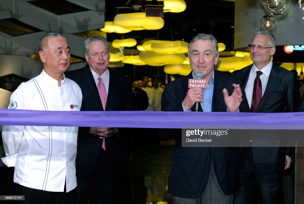 Chef <a gi-track='captionPersonalityLinkClicked' href=/galleries/search?phrase=Nobu+Matsuhisa&family=editorial&specificpeople=4292658 ng-click='$event.stopPropagation()'>Nobu Matsuhisa</a>, President of Caesars Entertainment Corp. Western Division Tom Jenkin, actor <a gi-track='captionPersonalityLinkClicked' href=/galleries/search?phrase=Robert+De+Niro&family=editorial&specificpeople=201673 ng-click='$event.stopPropagation()'>Robert De Niro</a> and Caesars Palace President Gary Selesner attend a ribbon cutting ceremony at a preview for the Nobu Restaurant and Lounge Caesars Palace on February 2, 2013 in Las Vegas, Nevada. The Nobu Hotel Restaurant and Lounge Casears Palace is scheduled to open on February 4.