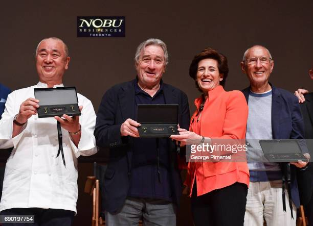 Chef Nobu Matsuhisa Robert De Niro Nelly Zagdanski and Meir Teper attend the Nobu Residences Toronto unveiling plans with Nobu hospitality...