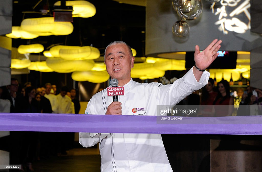 Chef <a gi-track='captionPersonalityLinkClicked' href=/galleries/search?phrase=Nobu+Matsuhisa&family=editorial&specificpeople=4292658 ng-click='$event.stopPropagation()'>Nobu Matsuhisa</a> speaks before a ribbon cutting ceremony during a preview for the Nobu Restaurant and Lounge Caesars Palace on February 2, 2013 in Las Vegas, Nevada. The Nobu Hotel Restaurant and Lounge Casears Palace is scheduled to open on February 4.