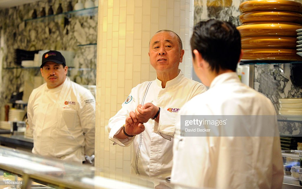 Chef Nobu Matsuhisa (C) works with his chefs during a preview for the Nobu Restaurant and Lounge Caesars Palace on February 1, 2013 in Las Vegas, Nevada. The Nobu Hotel Restaurant and Lounge Casears Palace is scheduled to open on February 4.