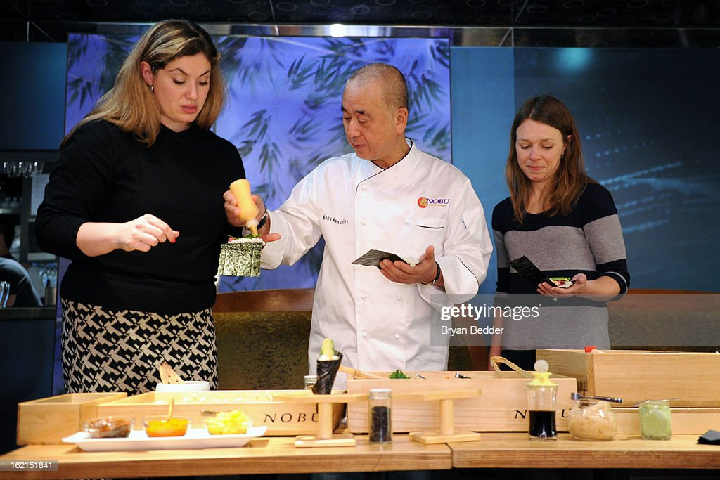 how to make hand rolls to guests at the Hand Roll Box event at Nobu ...