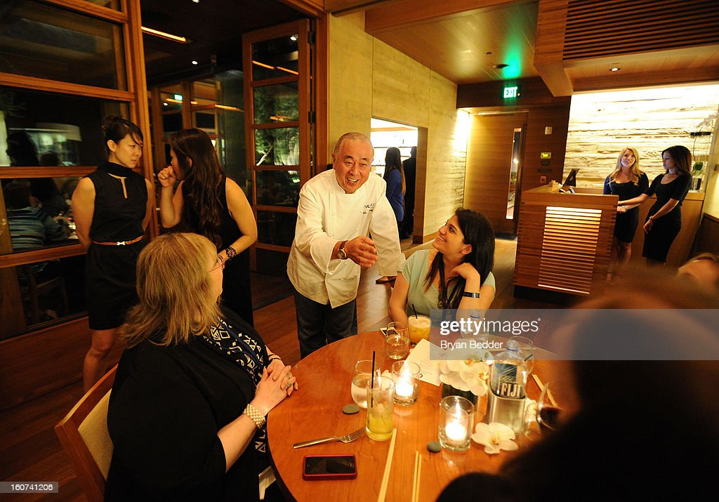 Chef Nobuyuki Matsuhisa (C) hosts a private dinner at Nobu Malibu to celebrate Delta Air Lines' Nonstop NYC challenge on Feb. 4, 2013 in Los Angeles, California.