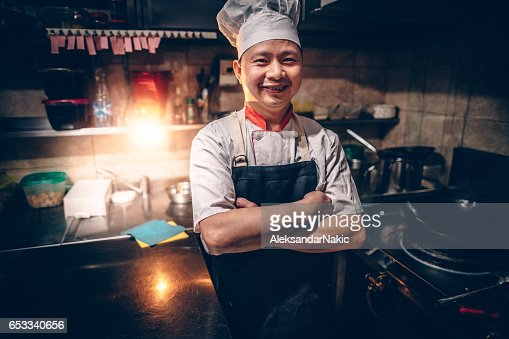 Chef on his workplace : ストックフォト
