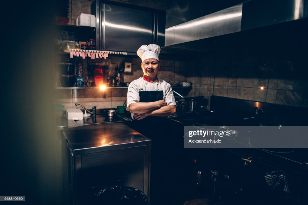 Chef on his workplace : Stock-Foto