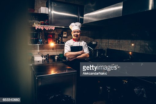 Chef on his workplace : Stockfoto