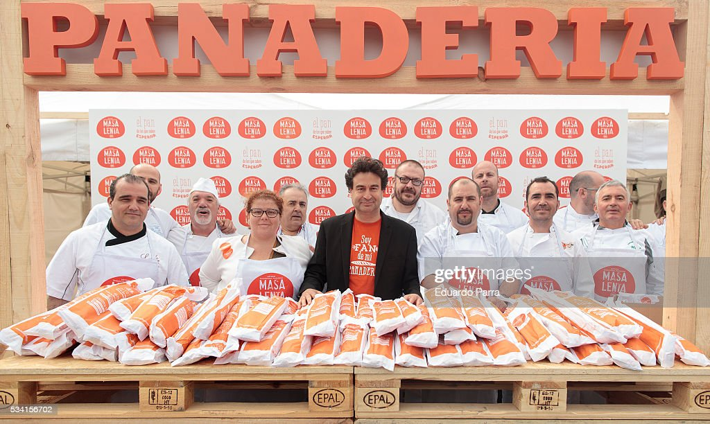 Chef Pepe Rodriguez promotes tradicional bread at Atocha station on May 25, 2016 in Madrid, Spain.