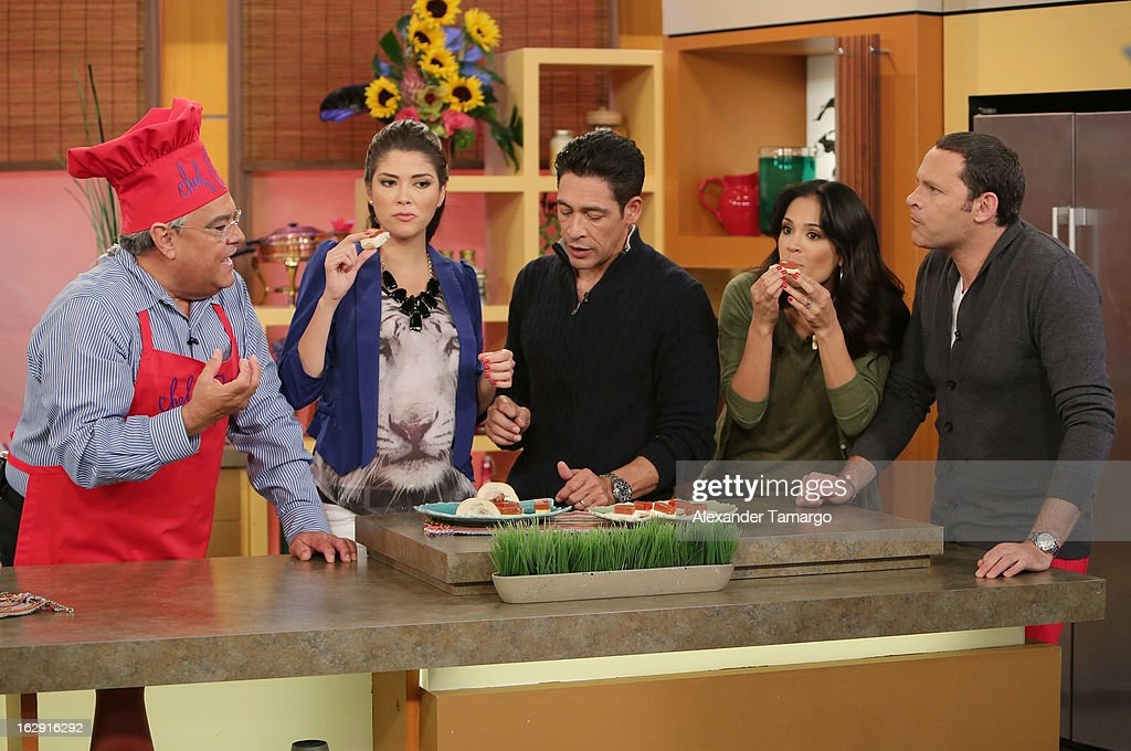 Chef Pepin, Ana Patricia Gonzalez, Johnny Lozada, Karla Martinez and Alan Tacher celebrate Univision's Tlnovelas cable network first anniversary on Despierta America at Univision Headquarters on March 1, 2013 in Miami, Florida.