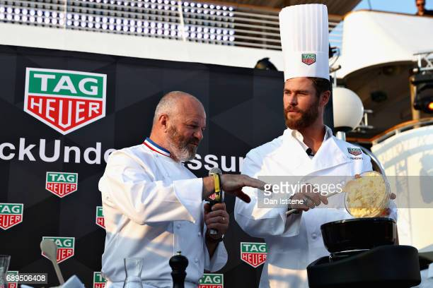 Chef Philippe Etchebest and Actor Chris Hemsworth at the TAG Heuer Culinary Challenge on May 27 2017 in MonteCarlo Monaco