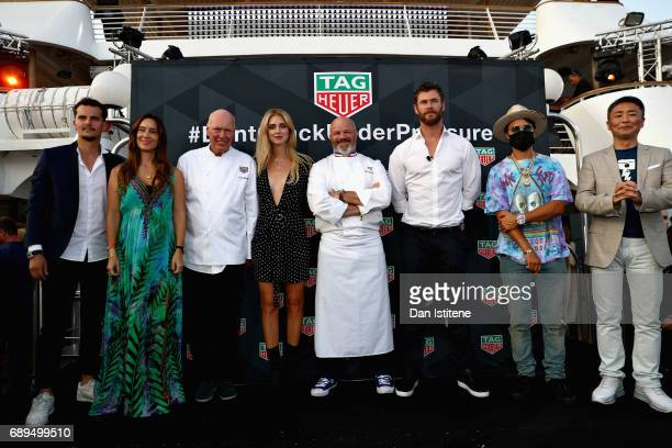 Chef Philippe Etchebest Fashion blogger and model Chiara Ferragni Actor Chris Hemsworth TAG Heuer CEO JeanClaude Biver at the TAG Heuer Culinary...