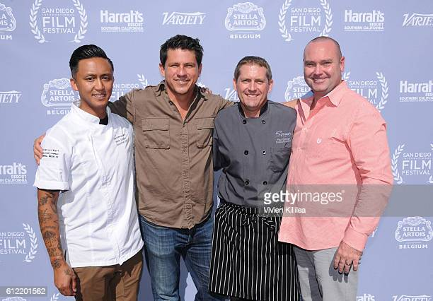 Chef Phillip Esteban TV personality Troy Johnson and chef Paul Schwab and Boardmember of the San Diego International Film Festival Kristian Forster...
