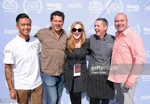 Chef Phillip Esteban TV personality Troy Johnson VP of the San Diego International Film Festival Patti Judd chef Paul Schwab and Boardmember at the...