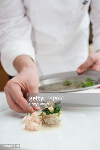 Chef preparing dish : Stock-Foto