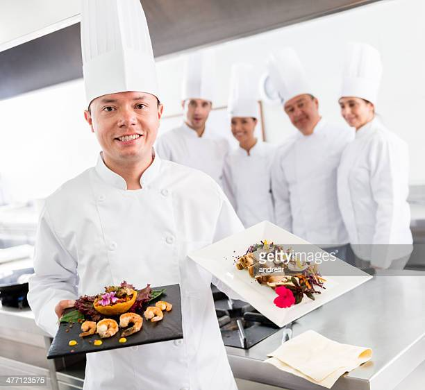 Chef presenting dishes