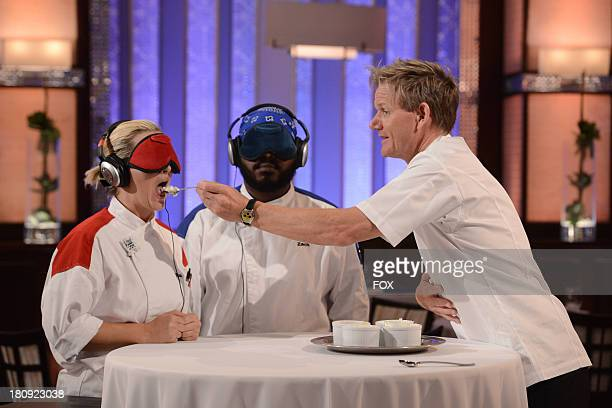 Chef Ramsay prepares the Red and Blue teams for the blind taste test in the 'Chefs Compete/ 9 Chefs Compete' episode of HELL'S KITCHEN airing...