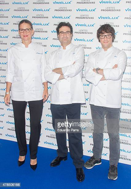 Chef Samantha VallejoNajera Chef Pepe Rodriguez and chef Jordi Cruz attend Varilux new campaign photocall at Urso hotel on June 25 2015 in Madrid...