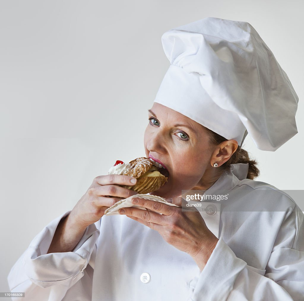 Chef sampling a pastry