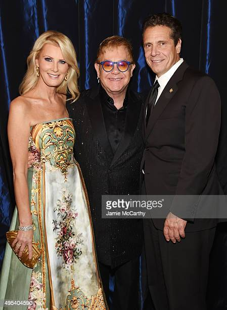 Chef Sandra Lee Sir Elton John and New York Govenor Andrew Cuomo attend Elton John AIDS Foundation's 14th Annual An Enduring Vision Benefit at...
