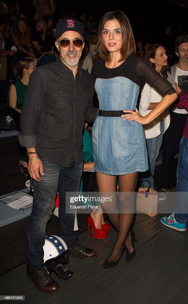 Chef Sergi Arola and model Maria Reyes are seen attending MercedesBenz Fashion Week Madrid Spring/Summer 2015/16 at Ifema on September 19 2015 in...
