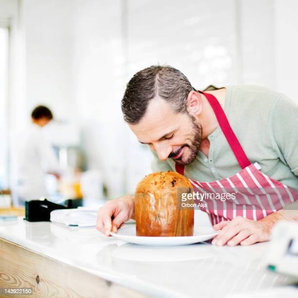 Chef smelling Panettone