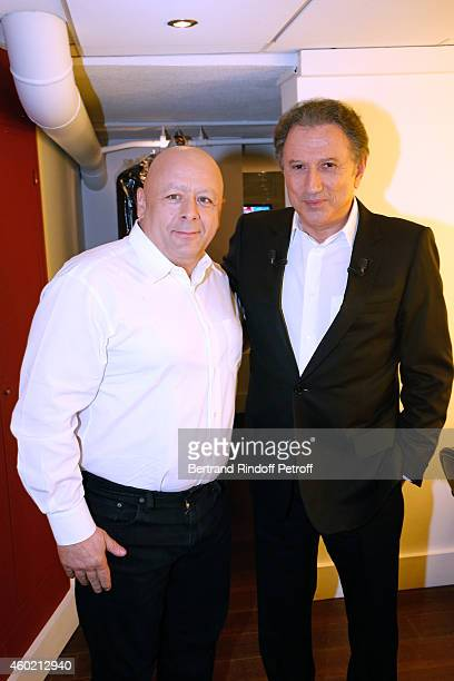 Chef Thierry Marx and Presenter of the show Michel Drucker attend the 'Vivement Dimanche' French TV Show at Pavillon Gabriel on December 9 2014 in...