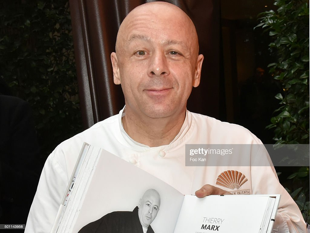 Chef <a gi-track='captionPersonalityLinkClicked' href=/galleries/search?phrase=Thierry+Marx&family=editorial&specificpeople=4584729 ng-click='$event.stopPropagation()'>Thierry Marx</a> of Mandarin Oriental restaurant attends the <a gi-track='captionPersonalityLinkClicked' href=/galleries/search?phrase=Thierry+Marx&family=editorial&specificpeople=4584729 ng-click='$event.stopPropagation()'>Thierry Marx</a> Inside Chefs' Fridges book signing at Mandarin Oriental on December 12, 2015 in Paris, France.