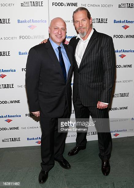 Chef Tom Colicchio and actor Jeff Bridges arrive at Bank of America and Food Wine with The Cinema Society present a screening of 'A Place at the...