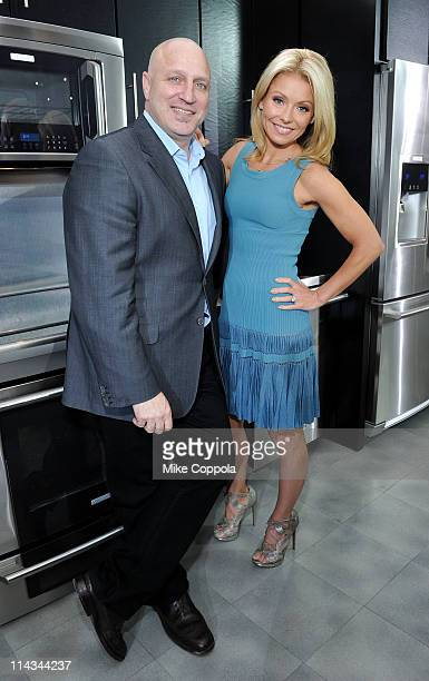 Chef Tom Colicchio and TV personality Kelly Ripa attend Kelly Ripa Tom Colicchio Electrolux Dial Down The Drama Of LastMinute Entertaining at Center...