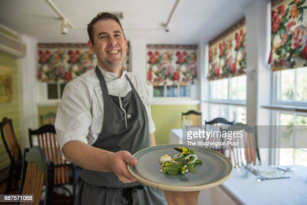 Chef Tom Whitaker with the asparagus salad at The Ashby Inn Restaurant