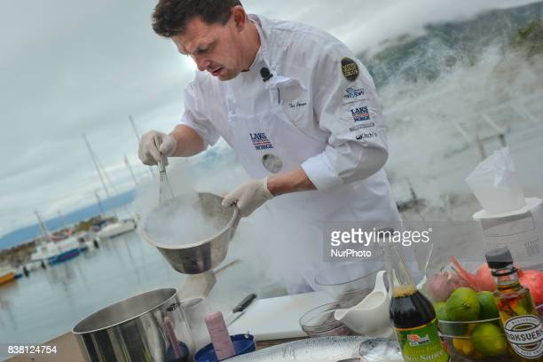 Chef Tor Jorgen Kramprud Arnesen of the world Famous Flying Culinary Circus prepares some extraordinary dishes in Engenes Harbour on Andorja Island...