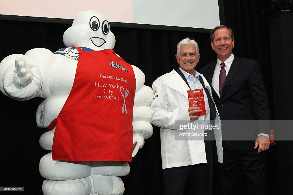 Chef Toshio Tomita (L) and Michelin Guide international director <a gi-track='captionPersonalityLinkClicked' href=/galleries/search?phrase=Michael+Ellis&family=editorial&specificpeople=214128 ng-click='$event.stopPropagation()'>Michael Ellis</a> attends the Michelin celebration of the 2016 Michelin Star Chef and restaurant recipients from New York City at Classic Car Club on September 30, 2015 in New York City.