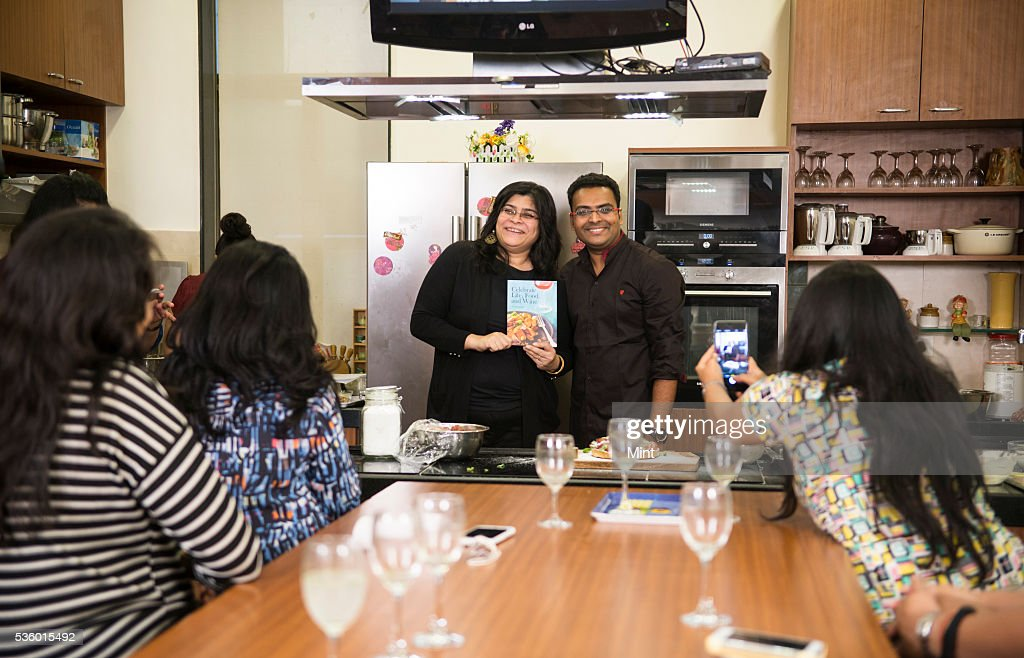 Chef Varun Inamdar during discussion by the Food Book Club on his book Celebrate Life, Food and Wine at studio of Rushina Ghidiyal in Andheri on November 29, 2015 in Mumbai, India.