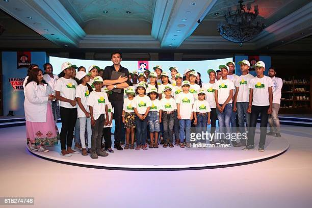 Chef Vikas Khanna with children from Smile Foundation during a 'Quaker India's Bring Your Tastiest Bowl contest' at Taj Palace Dhaula Kuan on October...