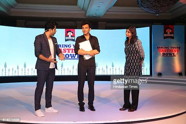 Chef Vikas Khanna with Deepika Warrier Vice President Nutrition Category PepsiCo India during a 'Quaker India's Bring Your Tastiest Bowl contest' at...