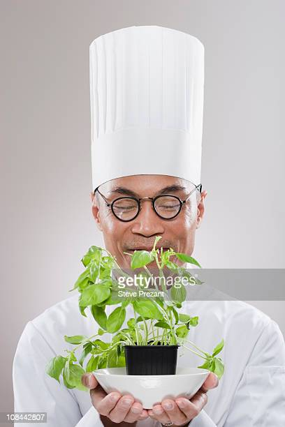 Chef with herb