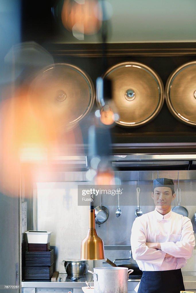 Chef Working in Restaurant Kitchen : Stock Photo