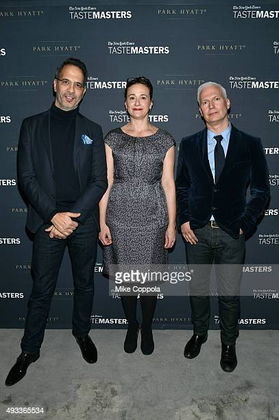 Chef Yotam Ottolenghi New York Times dining reporter Julia Moskin and curator Klaus Biesenbach attend The New York Times TasteMasters presented by...