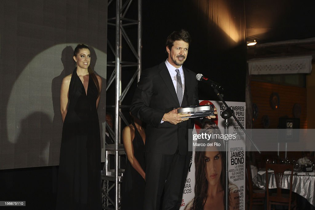 Cheff Rafael Osterling recieves an award during the awards ceremony GQ Men of the Year 2012 at La Huaca Pucllana on November 23, 2012 in Lima, Peru.