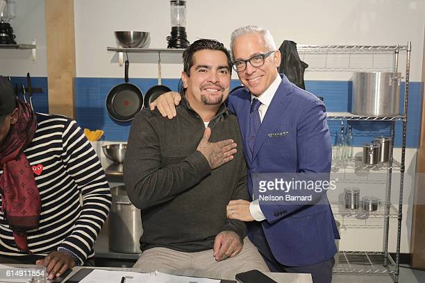 Chefs Aaron Sanchez and Geoffrey Zakarian attend Rooftop 'Chopped' during the Food Network Cooking Channel New York City Wine Food Festival presented...