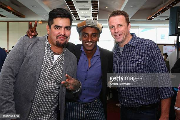Chefs Aaron Sanchez Marcus Samuelsson and Marc Murphy attend Best Bloody Mary Brunch Presented By Velocity Hosted By The Cast Of Chopped during Food...