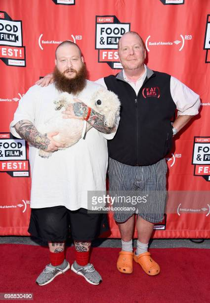 Chefs Action Bronson and Mario Batali arrive at EAT Food Film Fest at Bryant Park on June 20 2017 in New York City Photo by Michael Loccisano/Getty...