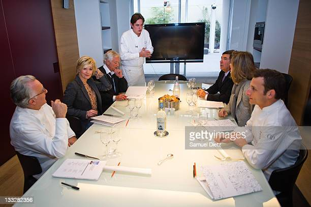 Chefs Alain Ducasse Romain Corbiere and Christophe Saintagne and members of the jury Flavie Flament Laurent Boyer JeanPierre Foucault and Julie...