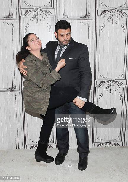 Chefs Alex Guarnaschelli and Adam Richman visit AOL Build at AOL Studios In New York on May 22 2015 in New York City