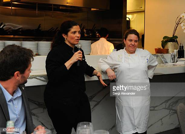 Chefs Alex Guarnaschelli and Dena Marino attend Bella Cucina A Dinner Hosted By Alex Guarnaschelli With Dena Marino during the Food Network South...